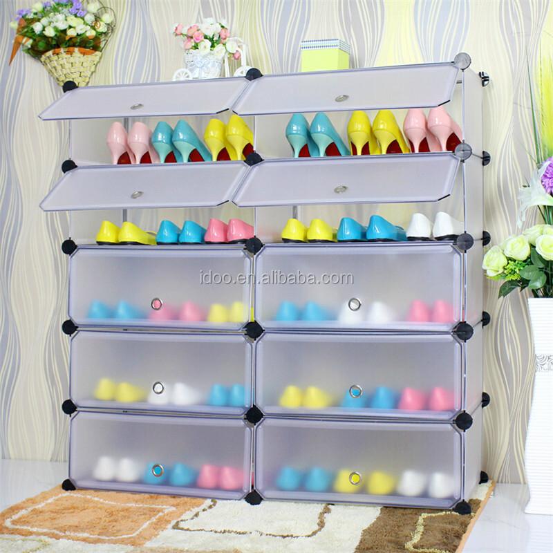 DIY Assembly Plastic Pink Shoe Cabinet Cubby Shoe Rack Toy Storage Bin Rack