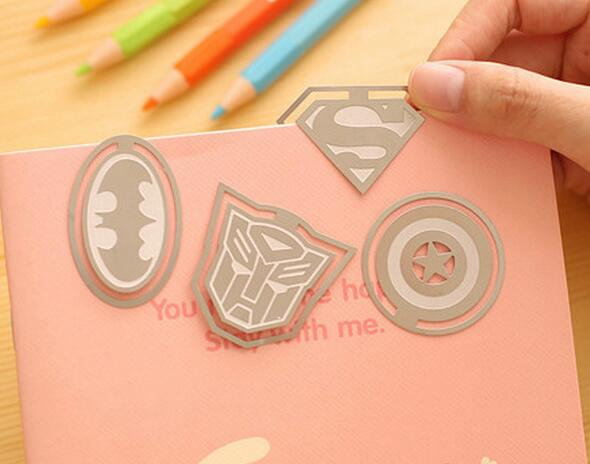 best gifts cartoon Transformers batman superman captain america bookmark etching crafts copper superhero plate metal bookmark
