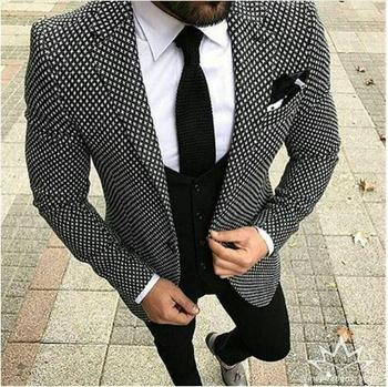 Fashional African Slim Fit 3 Pieces Mens Bridal Male Plus Size S to 5XL Blazer +waistcoat+pants+bowties Groom Men Suit MMA365