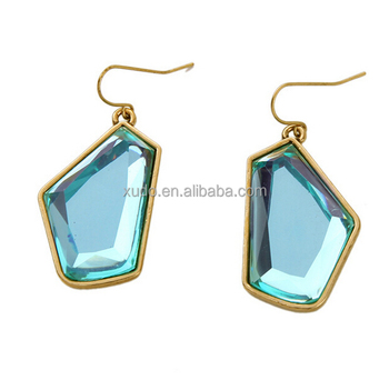 free shipping 2016 new sky blue crystal pendant hook earring