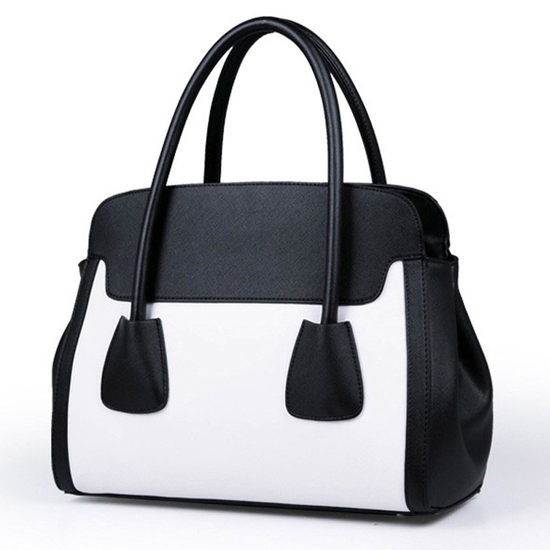 77b54bca3249 Get Quotations · 2015 Famous Brand Women Smiley Bag Black And White  Patchwork Womens Hand Bag Fashion Tote Ladies