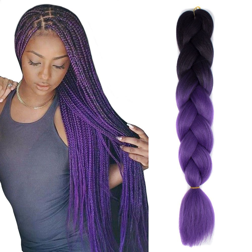 Get Quotations Jiameisi Two Tone Ombre Jumbo Braid Hair Extension 5pcs Lot 100g Pc Kanekalon Fiber