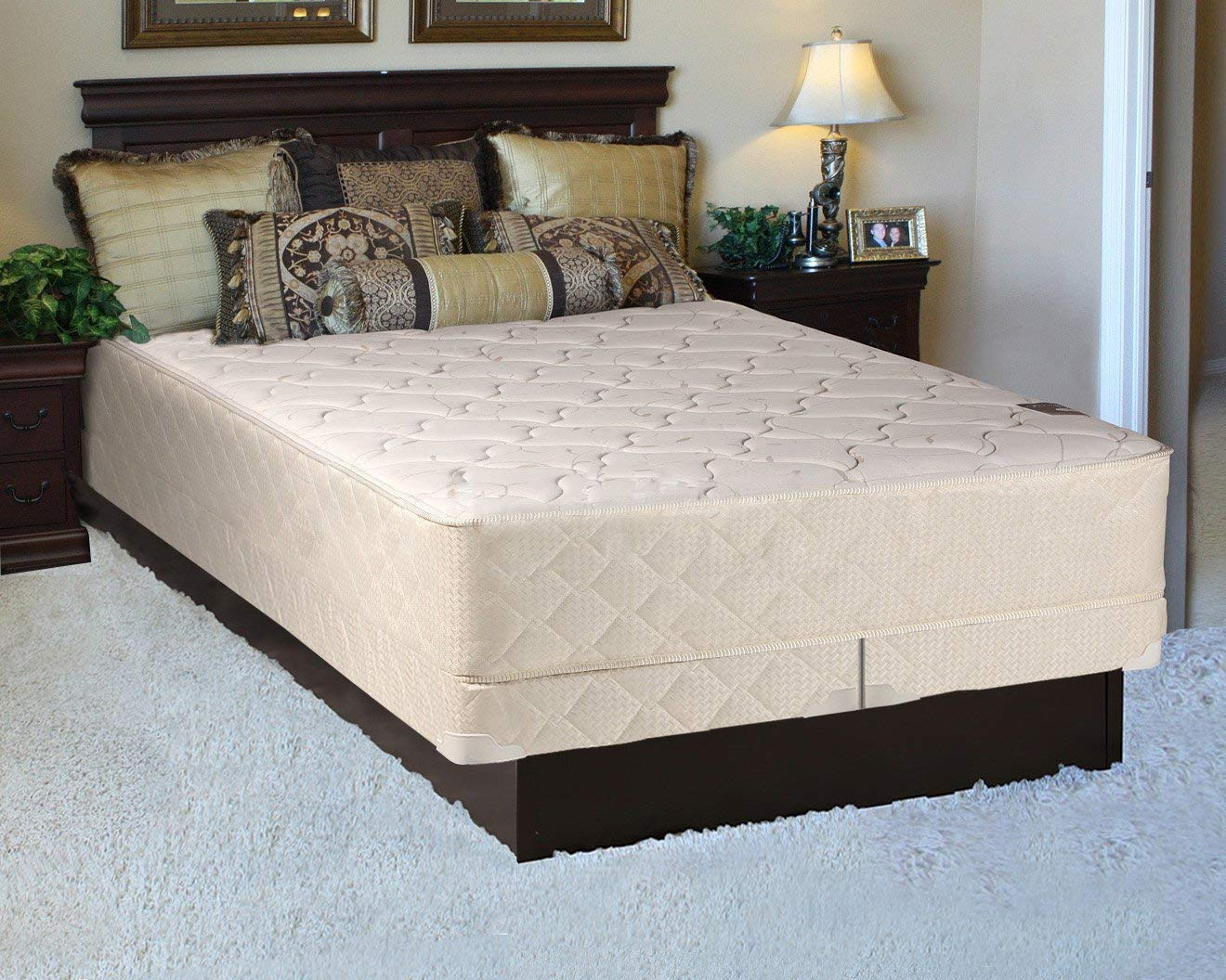 "Mattress Solution 225y-4/6-2LPS 10-Inch Fully Assembled Innerspring Medium Plush Mattress and 4"" Split Box Spring/Foundation Set, Full Size, White &LT Brown"