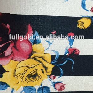 Fashion design knitted plain pu leather brocade digital printed fabric