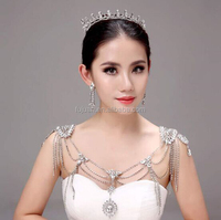 New 2016 High Quality Rhinestone Wedding Jewelry Sets Bridal Earring and Pashmina Jewelry Crown