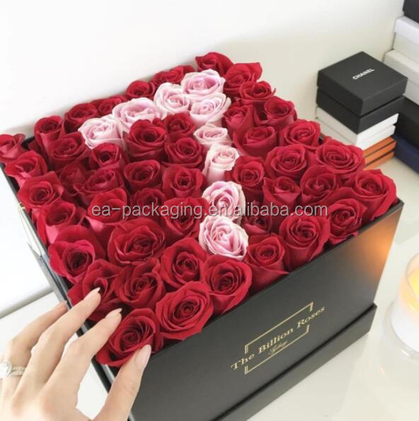 Deffer design cardboard luxury square boxes for roses packaging, rose packaging box