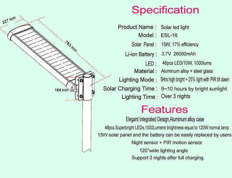 New Model All In One Solar Street Light With Battery Backup