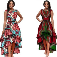 Fashion women sleeveless sexy cheap elegant high low cut ladies African dashiki print dress