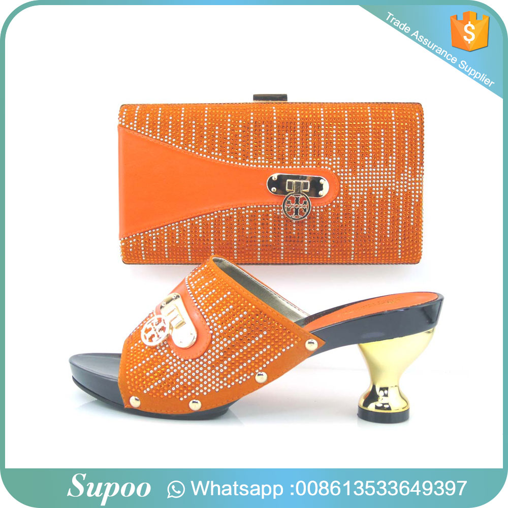 Latest top quality party wear high <strong>heels</strong> orange and light fresh color party shoes and bag girls high <strong>heel</strong> sandals