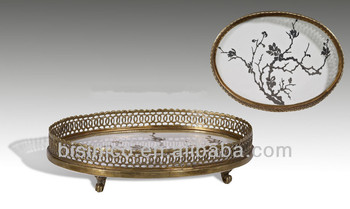 Vintage Oval Decoration Porcelain Footed Tray Hand Painted Porcelain Plate With Brass Base  sc 1 st  Alibaba & Vintage Oval Decoration Porcelain Footed TrayHand Painted Porcelain ...