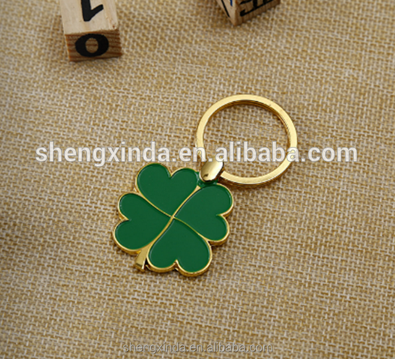 Irish Green Four Leaf Clover Gold Metal Key Chain Charm in Discount
