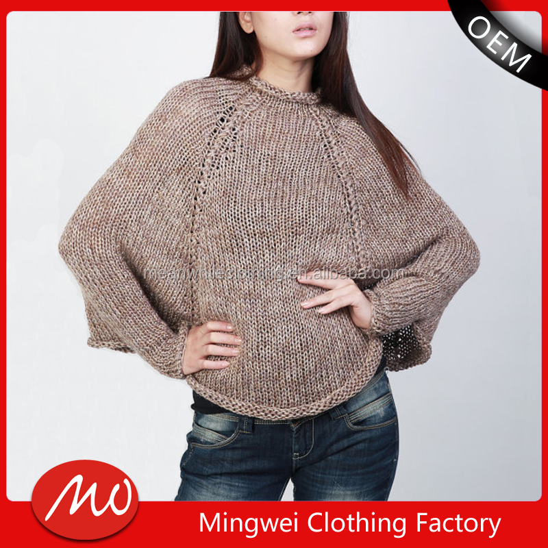 winter women wholesale cashmere knitting pattern wool poncho with sleeves