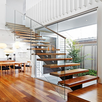 Wood Stair Landing Steel Beam Wooden Staircase Stairs