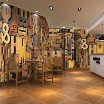 club wall paper 3d letters mural carta da parati