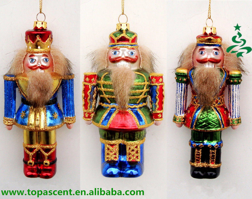 Hand Painted Traditional Christmas Glass Nutcracker Ornament Craft ...