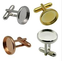 blank inclosure 14mm setting ong sleeve button down backs findings cuff link plain cufflink
