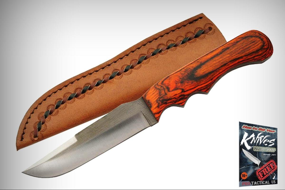 """FIXED-BLADE HUNTING Elite Knife Sawmill Cutlery Full Tang 9 5/8"""" File-Made Skinner + free eBook by ProTactical'US"""