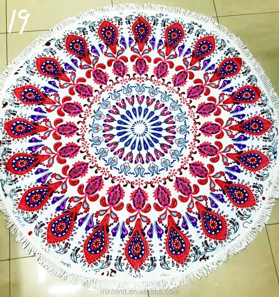 Custom Cheap Round Beds Convenient Geometry Beach Round Towel