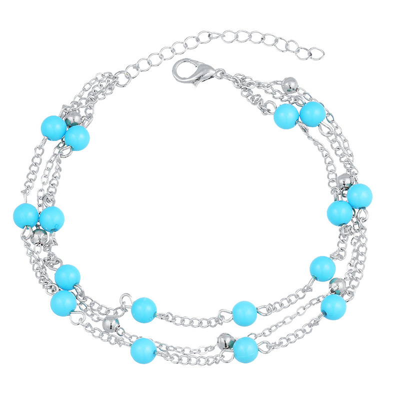 Wholesale Jewelry Lady Vintage Simple Imitation Turquoise Decoration Multilayer Anklet For Women