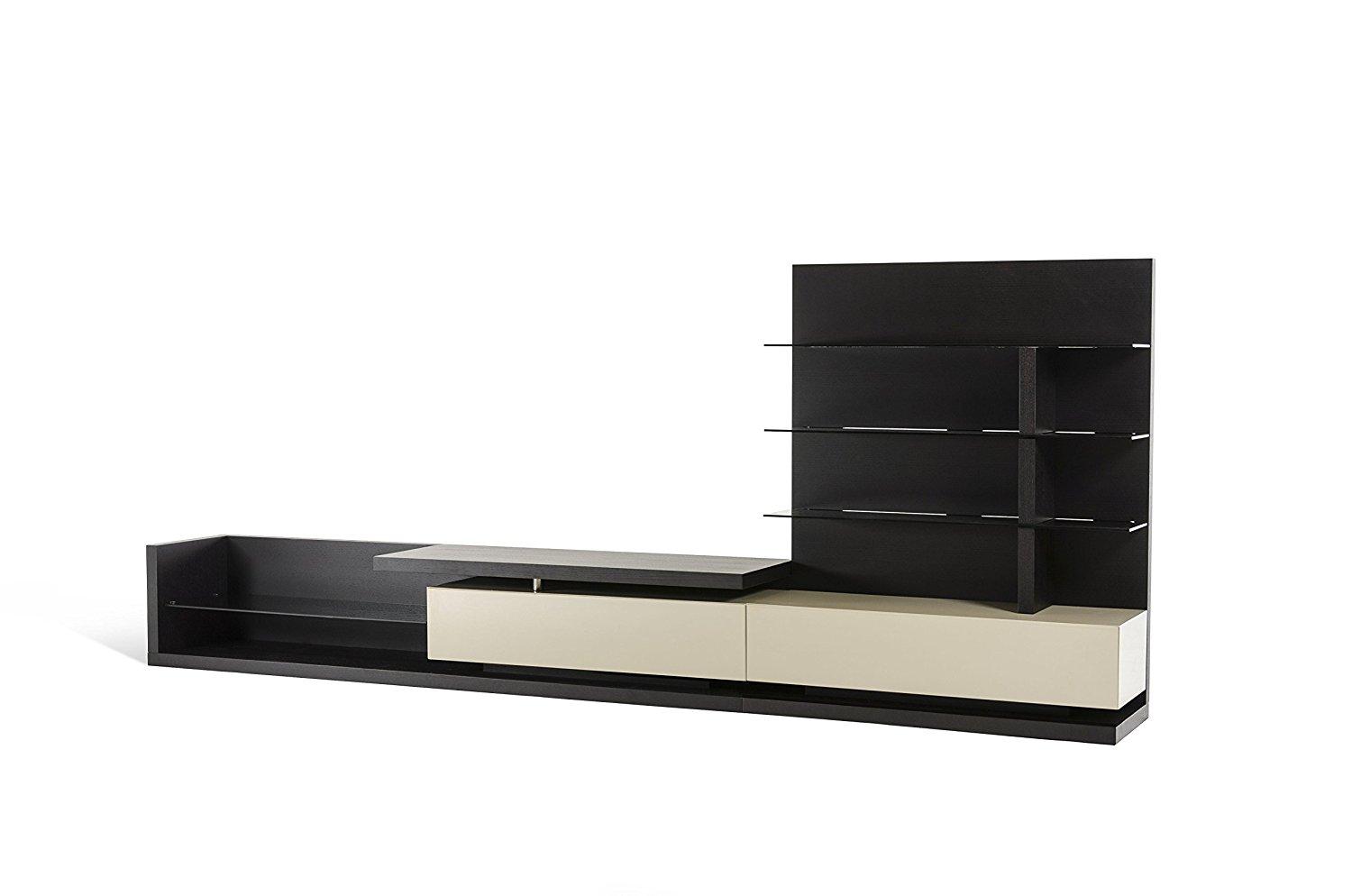 VIG Furniture Modrest Jefferson Collection Modern Veneer High Gloss Finish TV Stand with 4 Grey Glass Shelves and 2 Drawers With Soft-Close Mechanisms, Wenge & Beige