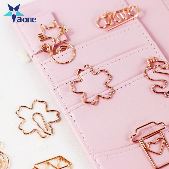Rose Gold Crown Diamond Hanger Flamingo Paper Clip Bookmark Planner Tools Memo Clip Metal Binder Paperclip