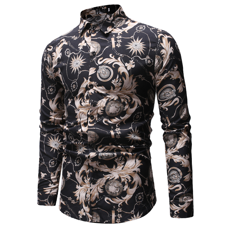 E8ML12 New foreign <strong>trade</strong> men's fashion printed lapel men's long-sleeved shirt