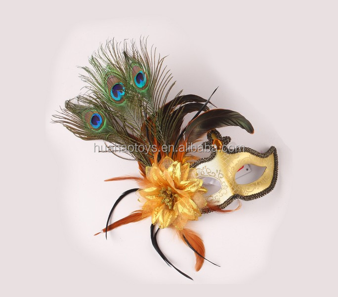 Novelty Golden Cock Feather Mask For Brazilian Crazy Party