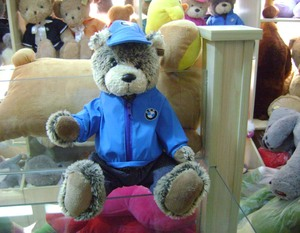 30cm customized soft stuffed plush original bobby bear toy with blue-colour zipper coat,cap