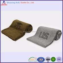 Stamped cheap poly US army force blankets polyester fleece fabric wool-like medic blankets