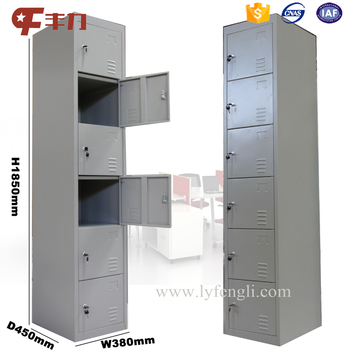 6 Door Steel Locker Cabinet/6 Tier Storage Metal Locker/6 Compartment  Wardrobe