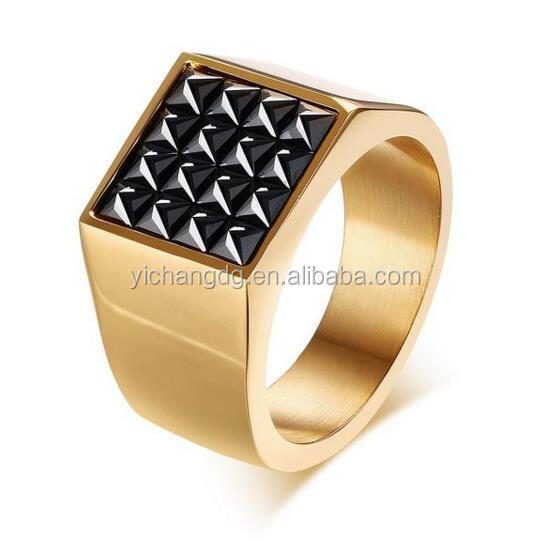 Gold Plated Stainless Steel Square Black Cz Cubic Zirconia Pave Signet Ring for Men