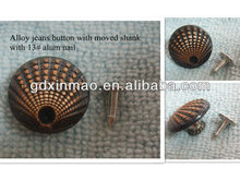 Alloy Jeans Button With Moved Shank For Garment Accessory