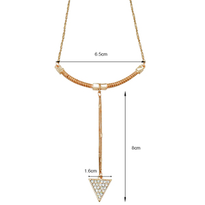 Wholesale american style new design trending 14k gold plating dangle accessories women triangle necklace pendant