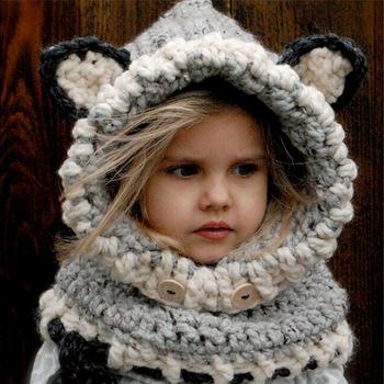 1b76644f453 W1801 Hiver Bébé Chapeau En Tricot Imprimé Animal Mignon Garçon Fille  Enfants Chapeau Chaud Bonnet +