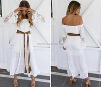 DEMI Wholesale white maxi lace sleeve off shoulder vintage dresses