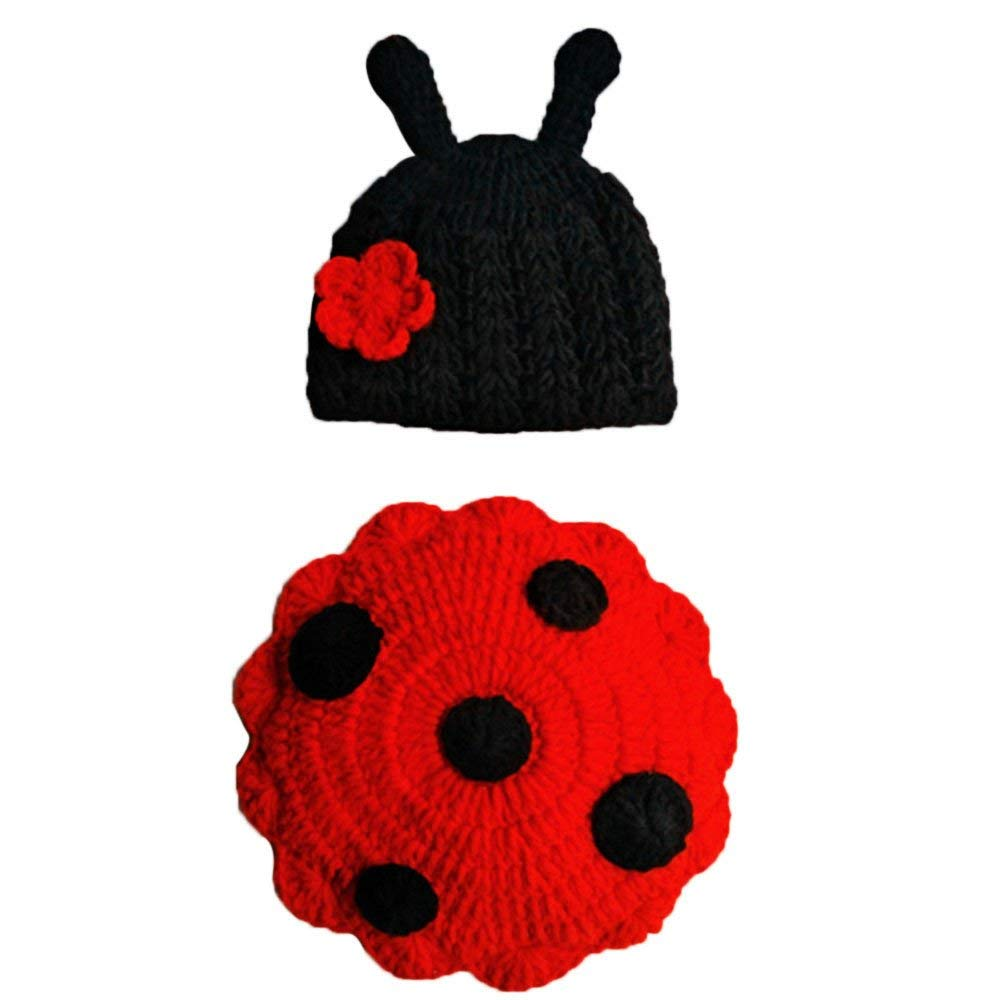 e42321945 Get Quotations · Jshuang Newborn Knitted Ladybug Hat + Clothes Photography  Props Set, Suitable for 0-6