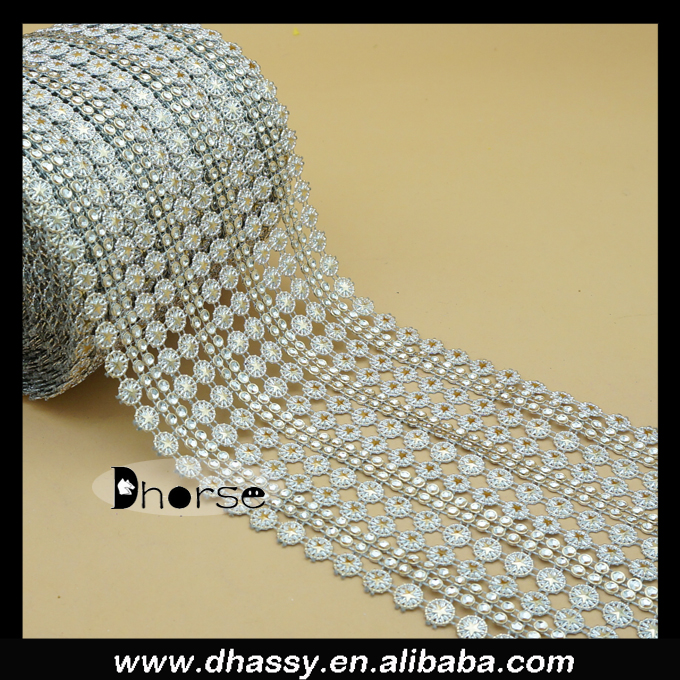 Alibaba supplier silver plastic rhinestone mesh trimming with gold star embossment DH-PM005