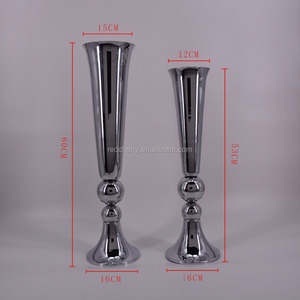 Wrought iron vases, hotel supplies, wedding items silver plated runway road led straight horn