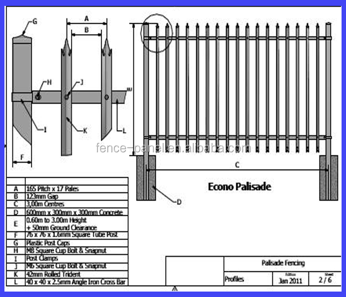 Alibaba china palisade fence high quality low price