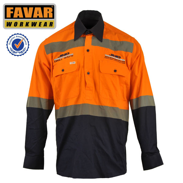 Men's reflective tape long sleeve hi vis work shirt garmet