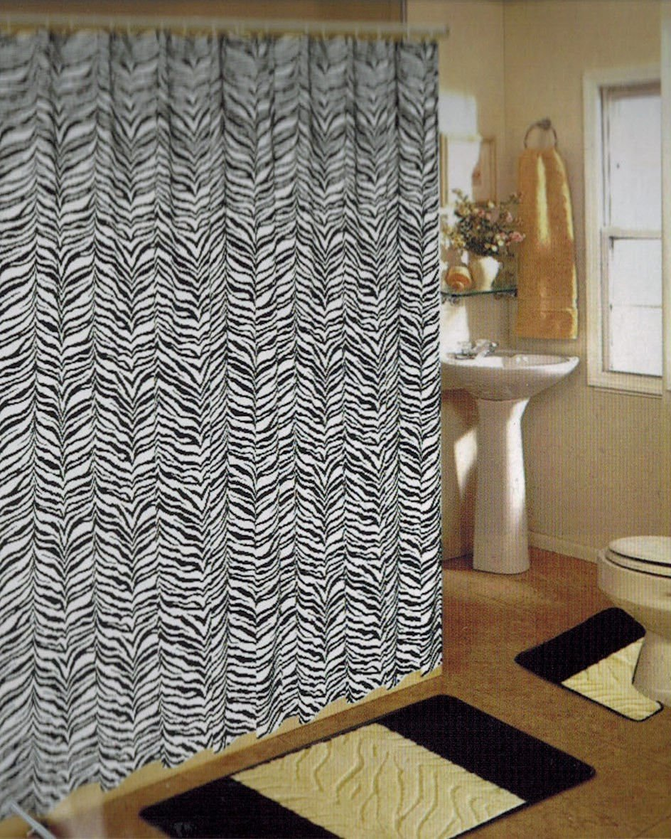 Bathroom Bath Mat Set Rug Carpet Fabric Shower Curtain Hooks Zebra Leopard New White