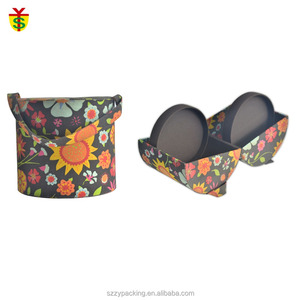 Flower Style Printed Fabric Coated Cylinder Paper Gift Box With Open Side And Storage Interlayer