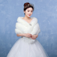 White Bridal Veil Faux Fur Stoles Warm Bolero Women High Quality Bridal Wraps For Winter Wedding Shawl Abrigo Boda 2019