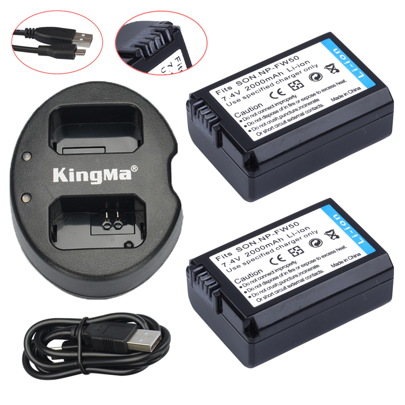 2Pcs NP FW50 NP FW50 Batteries USB Dual Charger For Sony NEX 5 NEX 5A NEX