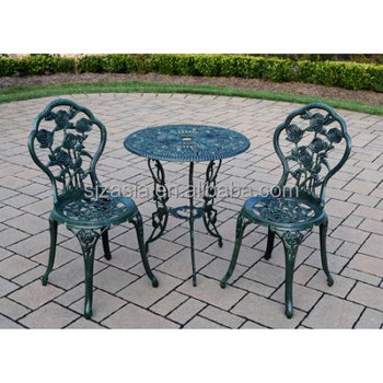 3 Piece Outdoor Cast Iron Patio Furniture Antique Style Dining Chair