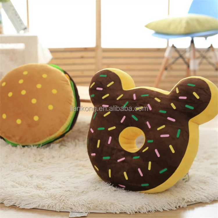 2017 new stuffed food plush toys soft donuts and hamburgers plush toy for kids
