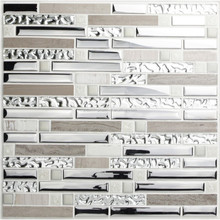 Silver Stainless Steel and Glass Tile Textured Marble Stone Mosaic Tiles Wave Patterns