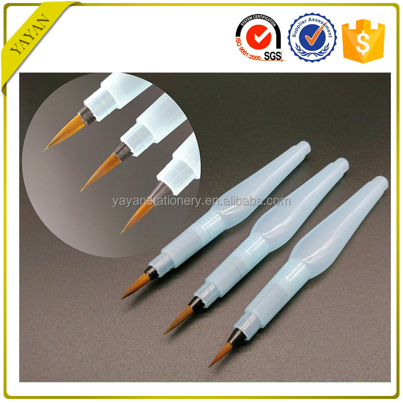 Professional 3PCS/SET Round Synthetic Nylon Hair Plastic Handle Watercolor Brush Pen For Art