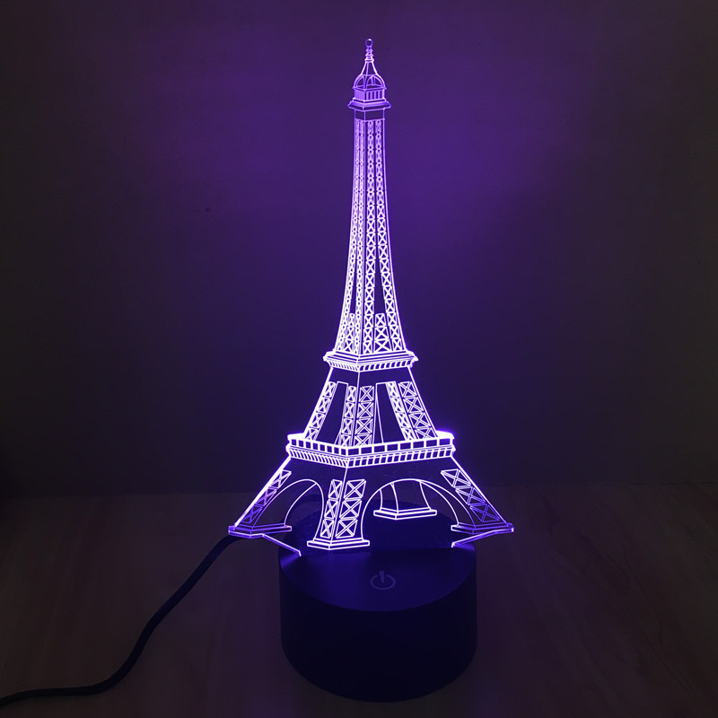 3D colorful Eiffel Tower shape light optical illusion led night lamp