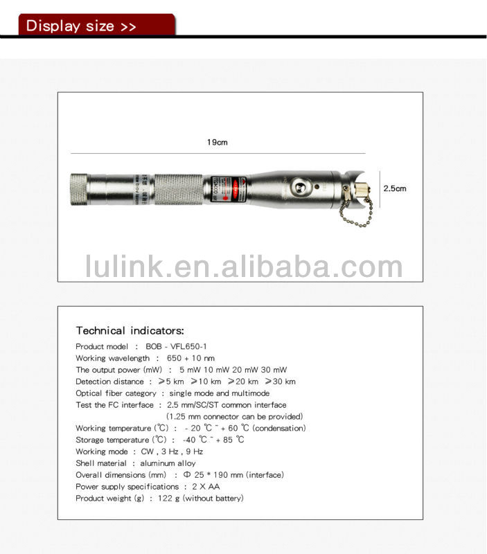 Good Quality Fiber optic Pen-Type Visual Fault Locator, VFL-650,Laser Fault Locator
